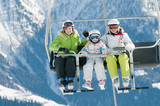 Ski lift - family  on ski vacation
