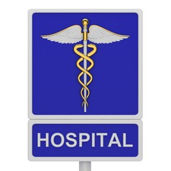 Hospital road sign with a picture caduceus