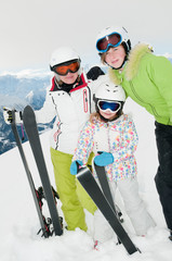 Skiers in winter resort