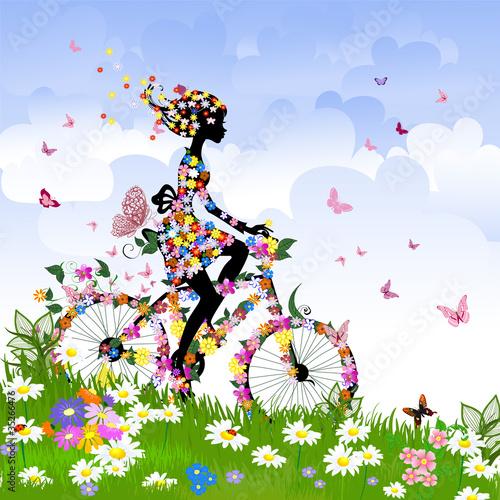 Fototapeta Girl on bike outdoors in summer