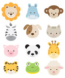 Fototapety Baby Animal Faces Set