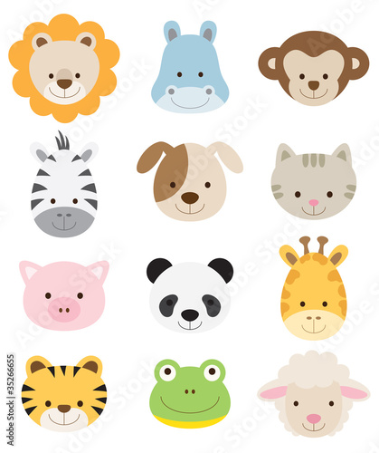 Foto op Aluminium Zoo Baby Animal Faces Set