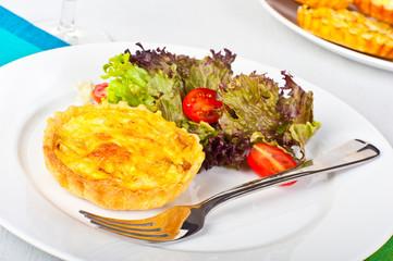 Mini quiche with salad