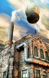 steampunk factory and hot air baloon