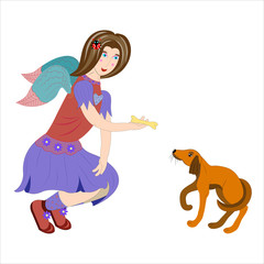 Angel feeds a puppy.