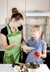 young woman with a daughter in the kitchen preparing
