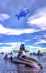 steampunk submarine and dirigibile