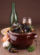 moules, fruits de mer et vin blanc