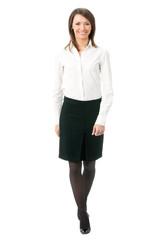 Full body of walking businesswoman, on white