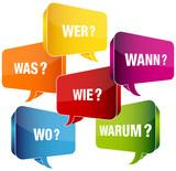 Sprechblasen 6-W-Fragewörter bunt