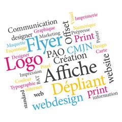 Logo Flyer Impression nuage de mots