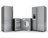 picture of household appliances on a white background poster