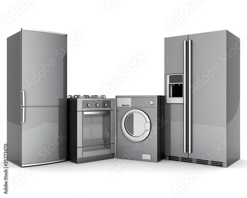 Leinwanddruck Bild picture of household appliances on a white background
