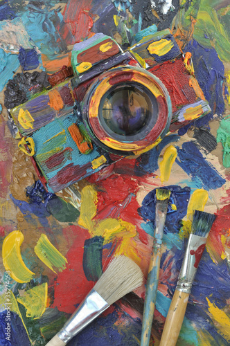 oil painted camera