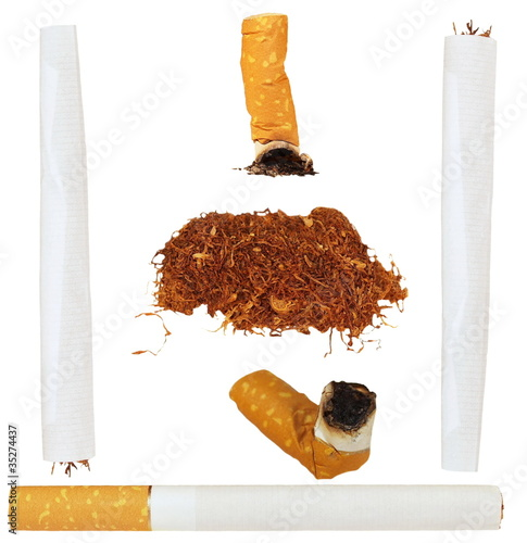 Set of cigarettes, tobacco, cigarette butts isolated on white
