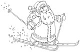skiing Santa carrying a sack of Christmas gifts