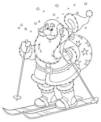 Santa skiing with a toy sack, Santa's hat flying off