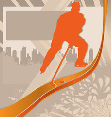 Winter Sports Designed Posters. Hockey Player Silhouette.