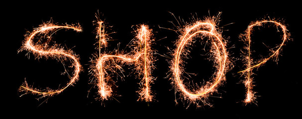 Word SHOP made of sparklers
