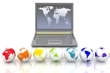 laptop and globes of all colors of rainbow.