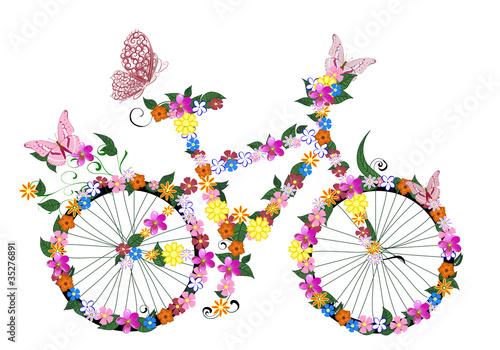 Fototapeta bike with flowers