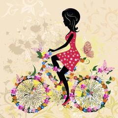 Girl on bike grunge