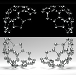 3D scientific card with shiny molecules on black and white