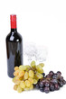 Bottle of wine with glasses and grapes