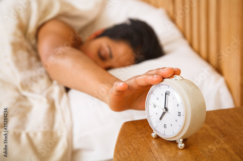 Leinwanddruck Bild Woman waking up