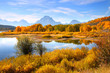 Scenic autumn landscape in Grand Tetons from Oxbow bend