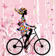 Girl on bike grunge romantic