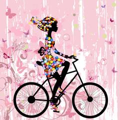 Girl on bike grunge romantic