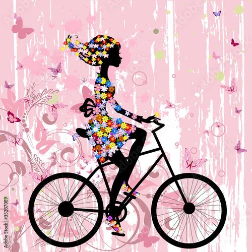 Fototapeta Girl on bike grunge romantic