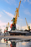 The large industrial crane for cargo containers in port