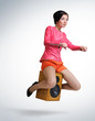 Young girl unreal flies on speaker, motorcycle stylize