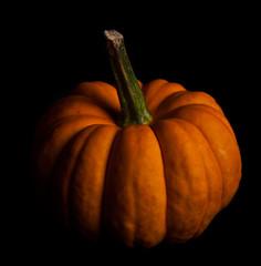 Ripe pumpkin fruits isolated on balck