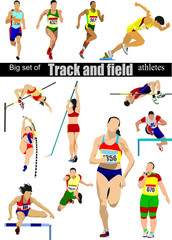 Big cet of Track and field athletes. Vector illustration.