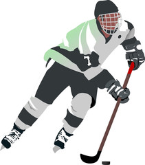 Ice hockey player. Vector illustration