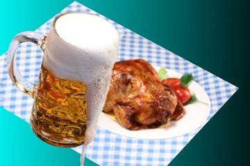 Bier und Grillhähnchen