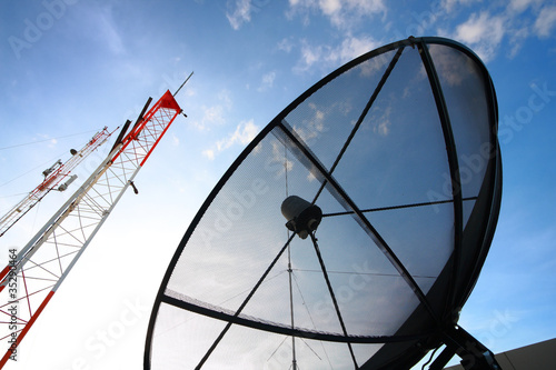 Satellite dish and radio antenna
