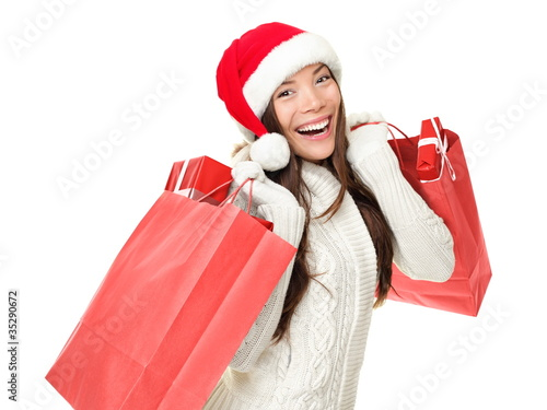 Christmas shopping girl with gifts