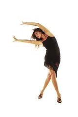 chica española bailando flamenco en fondo blanco