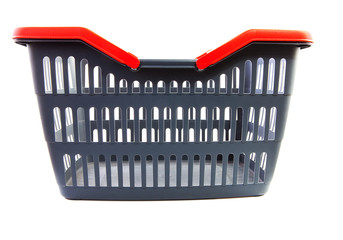 empty grey shopping basket with red handles
