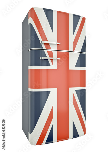 Union Jack fridge. 3D render.