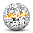 Webdesign, 3D Kugel, Wortwolke, Suchbegriffe, Tag Cloud