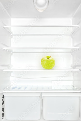 Apple in fridge.