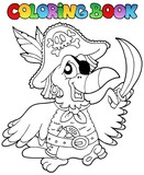Coloring book with pirate parrot - 35296444