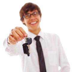 Office man with car keys
