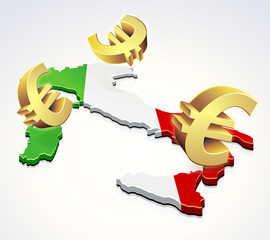 Mouvement d'euros en Italie