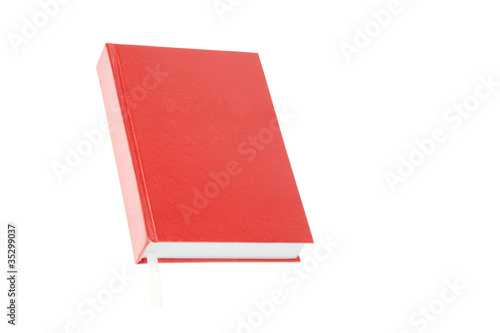 One red book with bookmark isolated on white background